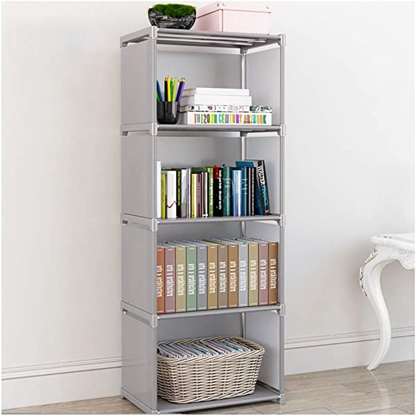 4 Layers DIY Combination Cabinet Fabric Children Bookcase Furniture Accessories Modern Bookshelf Simple Economical Bedroom Gray