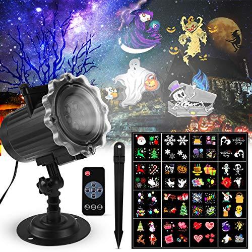 LED Projektionslampe, Qxmcov Halloween Weihnachten LED Projektor Licht Außen Weihnachten Schneeflocken Projektor Lichter Effektlicht 16 Muster für Weihnachten Halloween Aussen Innen