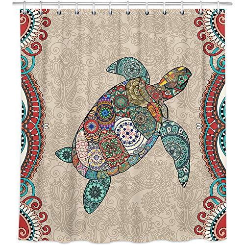Bonsai Tree Ocean Beach Animal Fabric Shower Curtain,Waterproof Polyester Colorful Mandala Sea Turtle Bath Curtain with Hooks,72'x72'