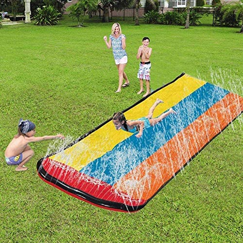 Extra-Thick PVC Safe Tear Proof Water Slide Lawn Backyard Garden Summer Outdoor Water Play Toy Watersports Super Waterslide, Triple People JIAJIAFUDR