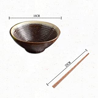 LXX-ボウル 日本の麺ボウルホーム大スープボウルセラミックおだんごラーメン麺食器 (Color : L)