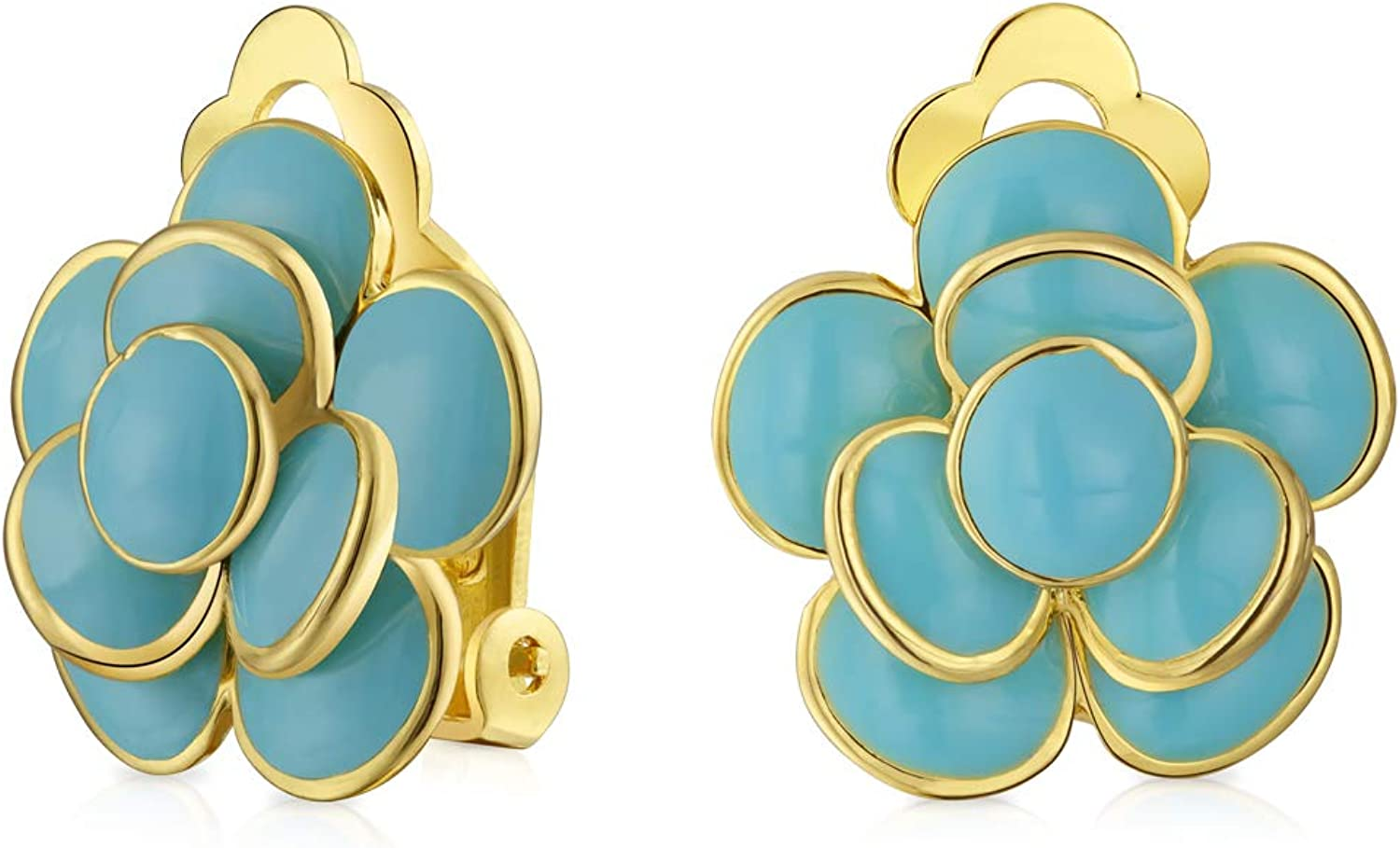 Red or Blue Turquoise Color Enamel Rose Flower Spring Retro Clip On Earrings Button Style For Non Pierced Ears 14K Gold Plated Brass