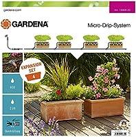 GARDENA påbyggnadspaket blomlådor: Balkongbevattningssystemet utökar ditt Micro-Drip-startpaket M med 4 blomlådor (13006-20)