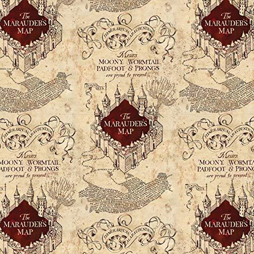 Harry Potter Stoff – CAM508 – Harry Potter – Karte des Rumtreibers – Halbmeterware 0,5 Meter – 100% Baumwolle