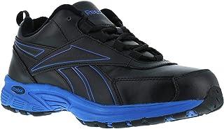 Reebok Mens Black/Blue Leather Athletic Work Oxford Ateron Steel Toe 6.5 W