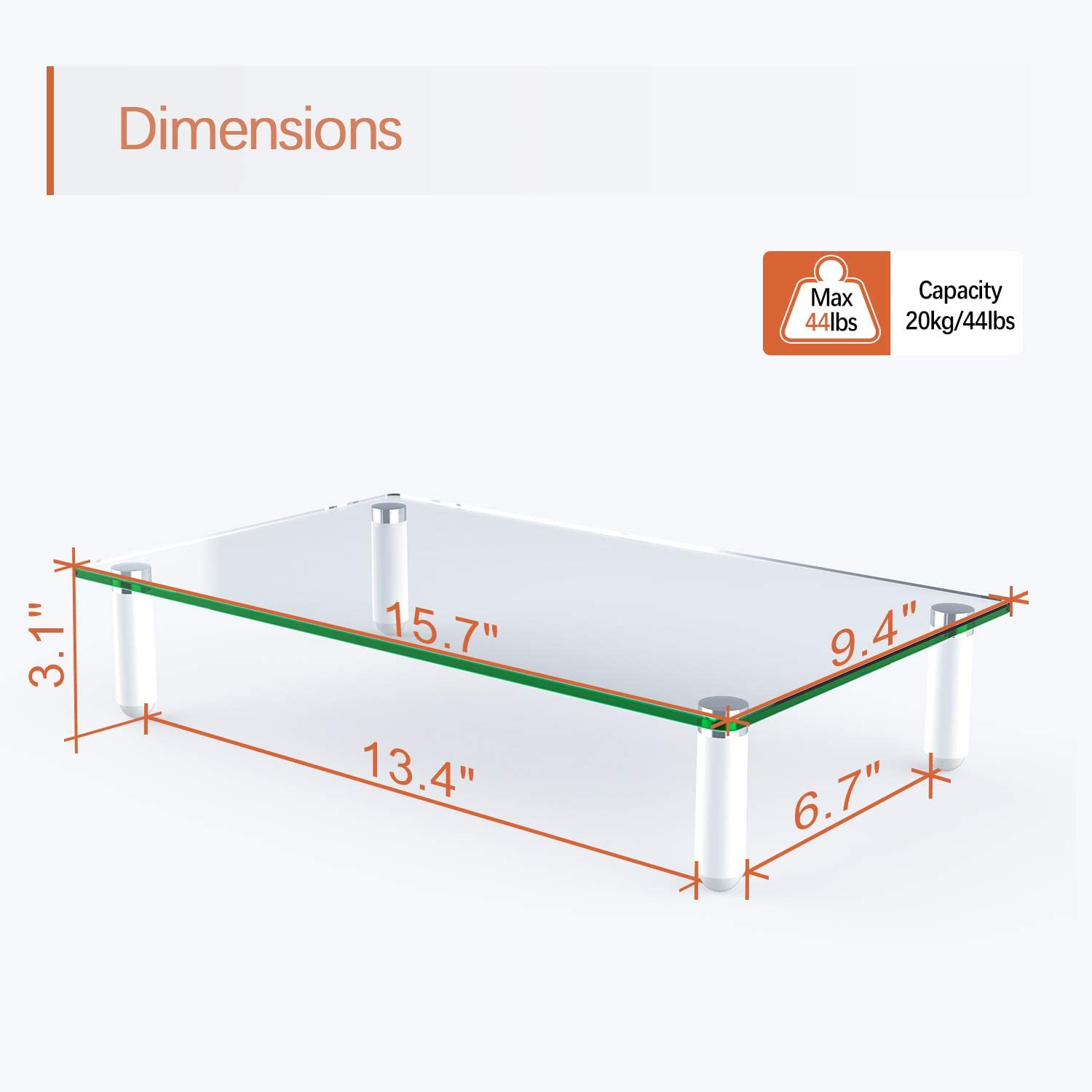 Clear Tempered Glass Computer Monitor Stand Riser for Laptop, Computer, iMac, and All Flat Screen Display, PUTORSEN Desktop Stand with Anti-Slip Pads Holds 44lbs, Storage Shelf & Screen Holder