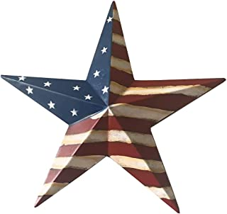 Grace Home Metal Patrotic Old Glory American Flag Barn Star July of 4th Decoration 12 Inches­
