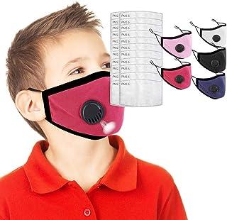 5 ??????????? Algodon Reutilizables con 20 Filtros para niños, Tela Lavable de Algodón Suave y semicara, Lavable