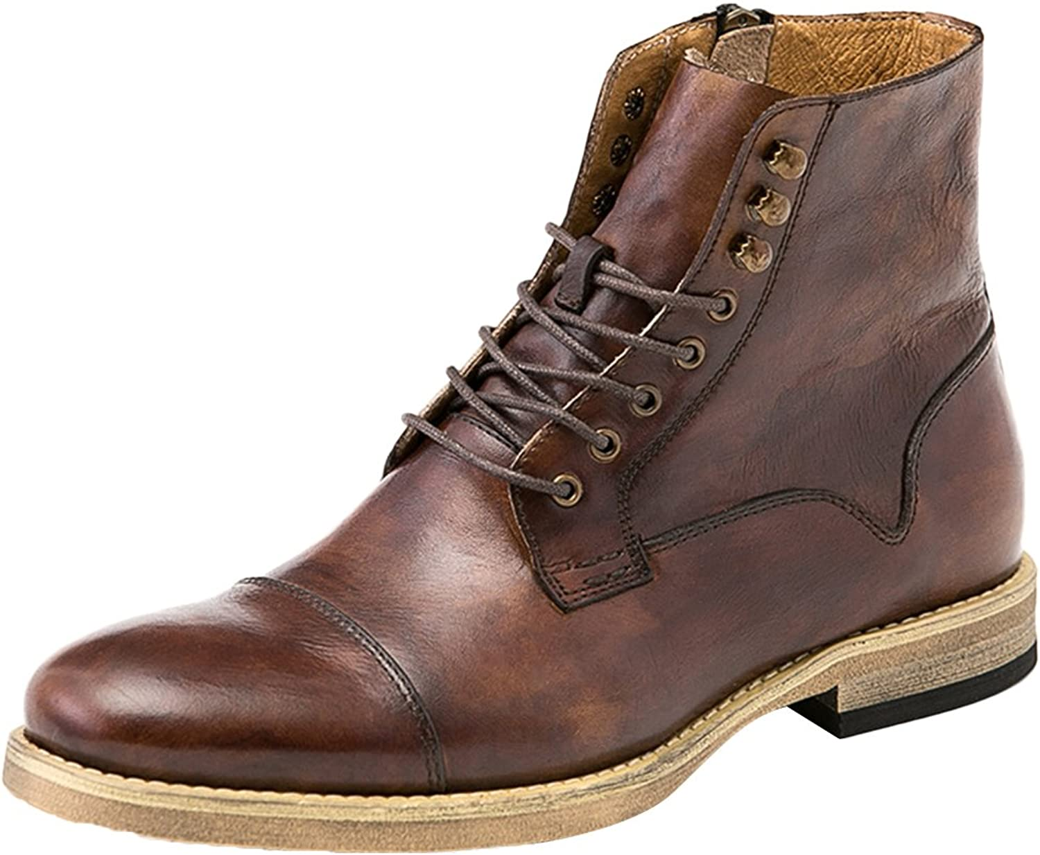 ICEGREY Men's Leather Ankle Boots Harness Motorcycle Boot