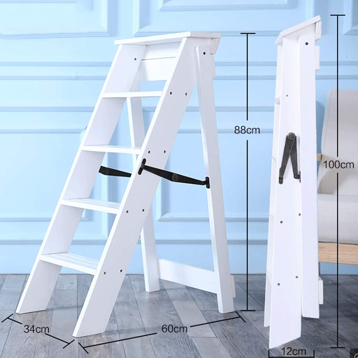 Household Solid Wood Folding Ladder Thickening 5 Step Herringbone Ladder Multifunctional Loft Storage Rack (color   White)