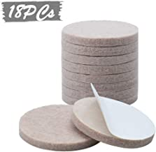 EKRON 18PC Self Adhesive Felt Material Pads for Furniture Floor Scratch Protection Round Shape/Self Sticking Non-Skid Floor Protector (Beige)