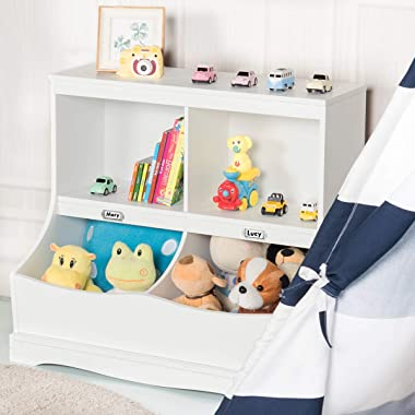 Costzon 4-Cubby Kids Bookcase with Footboard, Multi-Bin Children's Storage Organizer Cabinet Shelf with Thick Wood Board