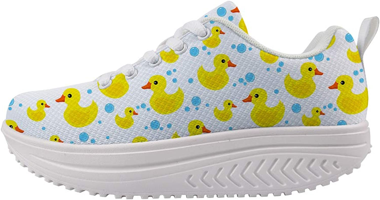 Owaheson Swing Platform Toning Fitness Casual Walking shoes Wedge Sneaker Women Rubber Duck Water Drops Bubbles