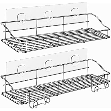 ODesign 浴室用ラック 強力粘着固定 ステインレスシャワーラック 取り外し可能なフック付き壁掛け式 バスルーム用ラック風呂場洗面所洗面台収納 棚- 2個