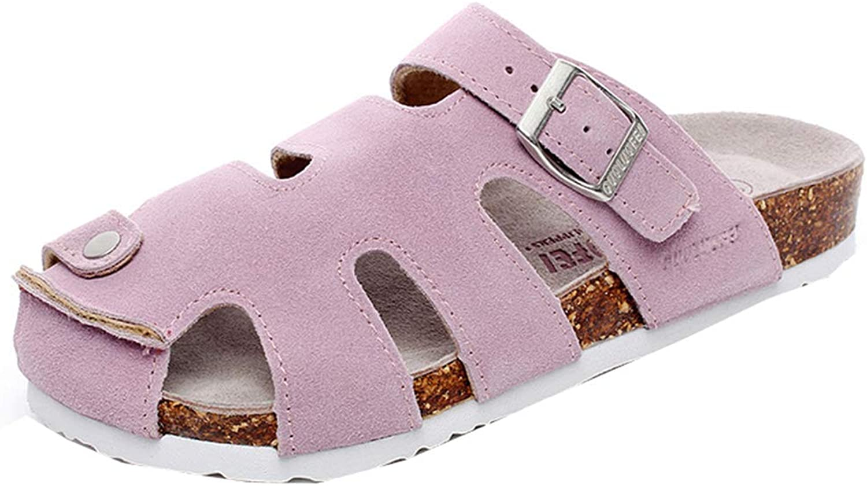 AGOWOO Womens Zandalias Closed Toe Soft Composite Wood Cork Mules Sandals