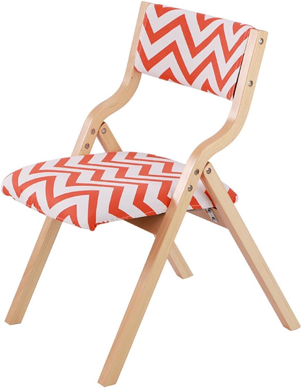 AIDELAI Bar Stool Chair- Solid Wood Folding Chair European Fabric Dining Chair Office Chair Computer Chair Outdoor Portable Leisure Chair (color   E)