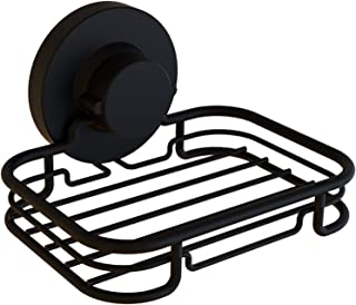 Gecko-Loc Rustproof Black Vacuum Suction Soap Dish Holder for Shower or Bath, Sponge Holder Sink Organizer - Easy Installation and No Drilling Stainless Steel - Adhesive Disk Now Included