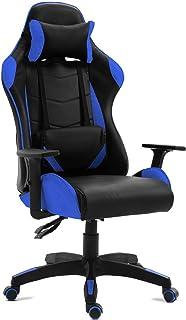 Kewayes Gaming Sedia Gamer, Poltrona da Ufficio, Ergonomica, Girevole, Reclinabile, con Braccioli, 5 Ruote, Blu