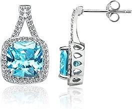 Sterling Silver Light Blue Cubic Zirconia 8mm Cushion-cut Halo Split Shank Stud Earrings