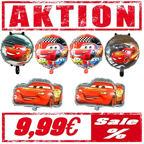 6er Set Cars Folienballon Deko Geburtstag Dekoration Happy Birthday Deko Luftballon Car Ballon Auto