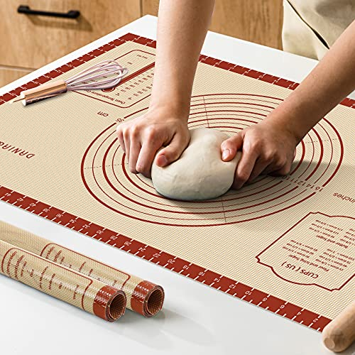 Silicone Baking Mat,26' x 16' Extra Thick Large Non Stick Sheet Mat with Measurement Non-slip Dough Rolling Mat,Reusable Food Grade Silicone Counter Mat for Making Cookies,Macarons,Bread and Pastry