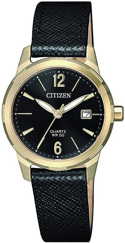 Citizen Quartz Black Sale special price Dial Leather EU6078-09E Watch New product! New type Ladies