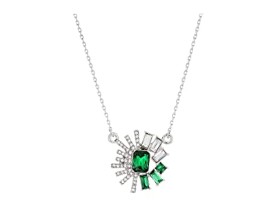 Vince Camuto 18 Stone Pendant Necklace (Rhodium/Crystal/Dark Moss Green) Necklace