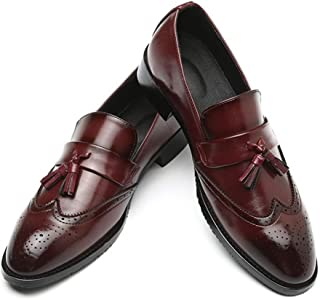 PengCheng Pang Brogue Carving Oxfords for Men Tasseled Loafers Slip on Faux Leather Pointed Toe Burnished Style Stitching Anti-Skid Block Heel (Color : Red, Size : 5.5 UK)
