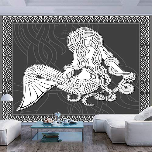 77x55 inches Wall Mural,Retro Style Art Mermaid Brushing Hair and Border with Celtic Patterns Print Peel and Stick Self-Adhesive Wallpaper Removable Large Wall Sticker Wall Decor for Home Office