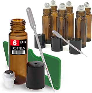 6 Pack Kit, Amber Brown Roller Bottles Set, 10 ml, Roll On Stainless Steel Ball, Includes qty 6-1ml Droppers, Opener, and Labels. Set for Essential Oils, Perfume, Refillable (6 Pack UV Amber)
