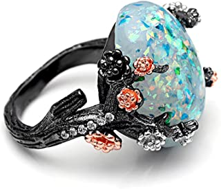 Henrietta Elven Tree Branch Setting Oval Green Simulated Fire Opal Ring
