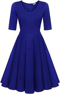 Women's Half Sleeve Swing Dress Flower Print A Line Tea Dress
