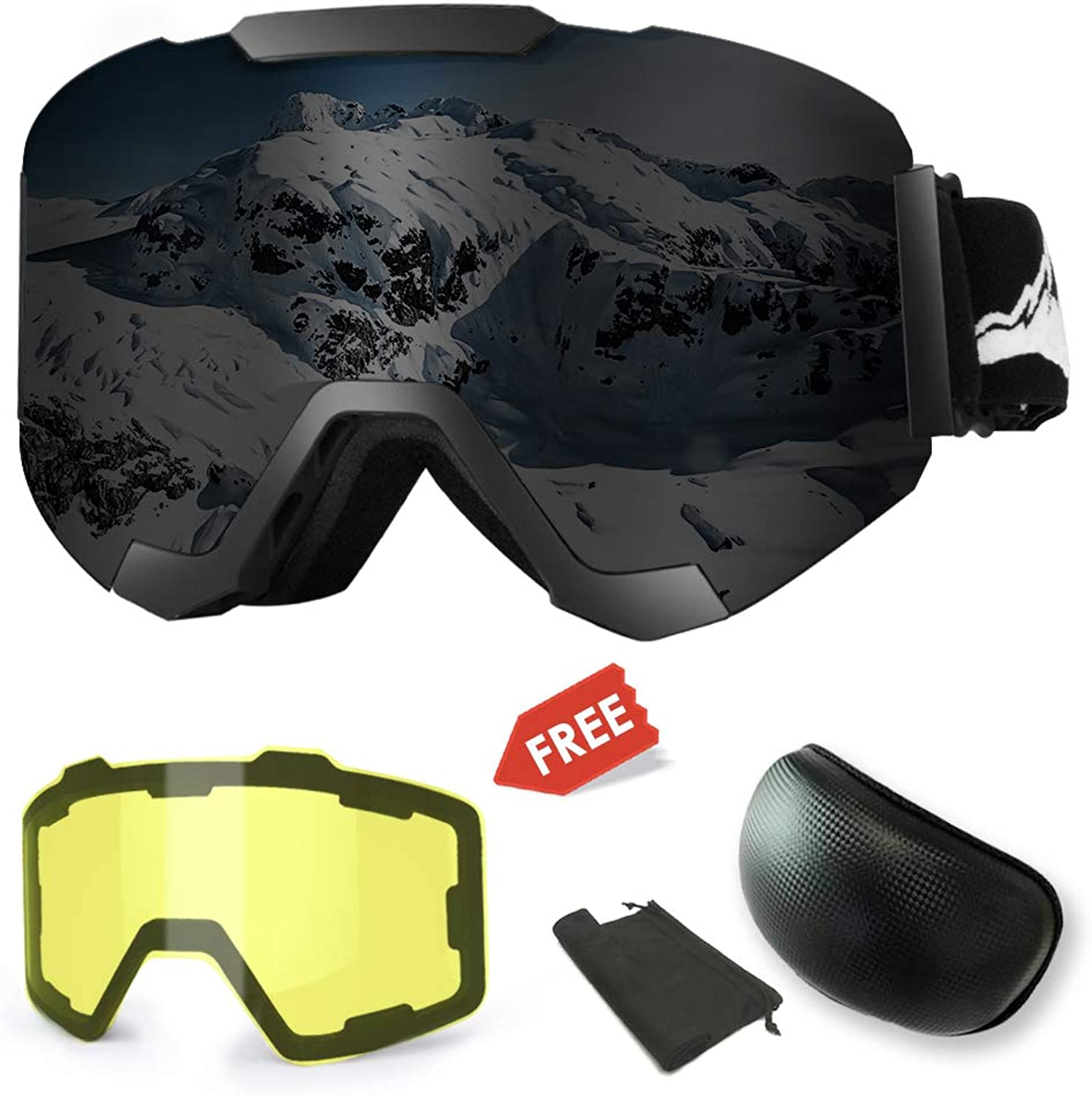 Extra Mile Ski Goggles AntiFog UV Predection Winter Snow Sports Snowboard Goggles with Interchangeable Spherical Dual Lens for Men Women & Youth Snowmobile Skiing Skating