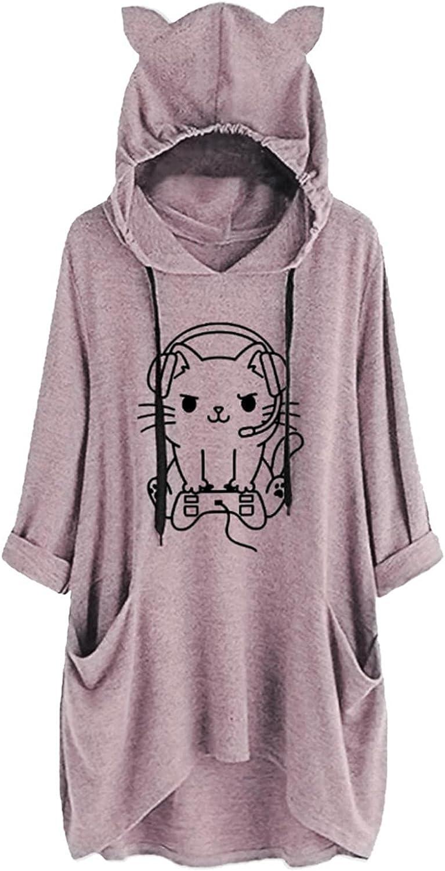 Hemlock Women Teens Sweatshirts Cute Cat Ear Hoodies Long Sleeve Mid Length Tops Pocket Pullovers