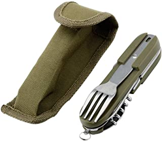أدوات المائدة القابلة للطي، من الفولاذ المقاوم للصدأ للتخييم في الهواء الطلق، أداة متعددة الوظائف 7 في 1 قابلة للفصل