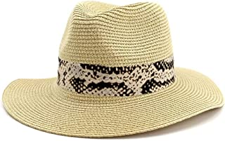 LIWENCUI Summer Panama Hat Hollow Out Straw Hat for Men Women Leather Ribbon Large Brim Sun Beach Hat Jazz Cap (Color : Beige, Size : 56-58CM)