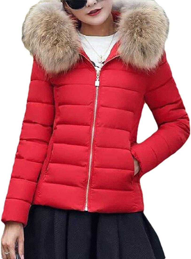 Yhsuk Women Outerwear Slim Fit Cotton-Lined Winter Down-Coat Faux-Fur-Hood Quilted Jacket