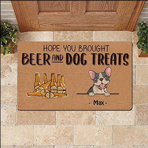 We Hope You Brought Beer and Dog Treats Doormat Custom Dog Name French Bulldog Black Welcome Home Non Slip Door Mats for Entrance Indoor, Outdoor, Floor Rug Decor