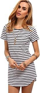 4d97a85dfd SheIn Womens Monochrome Dress - White Striped T-Shirt Dress