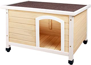 HiCaptain Waterproof Wooden Pet House Deluxe Solid Cedar Dog Kennel Universal Fits for Small Medium Large Animals