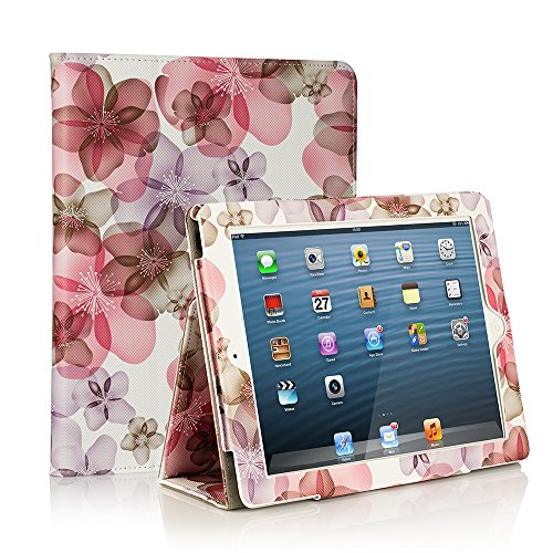 RUBAN Folio Case for iPad 2 3 4 (Old Model) 9.7 inch Tablet - [Corner Protection] Slim Fit Smart Stand Protective Cover Auto Sleep/Wake, Purple Flower