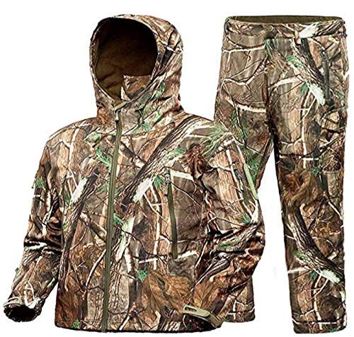 ADAFAZ Hunting Suit with Jacket & Pants Waterproof Camo Coat Camouflage Hoodie Windproof Hunting Coat for Men Hunting (Jacket & Pants, US XL= Tag XXL)