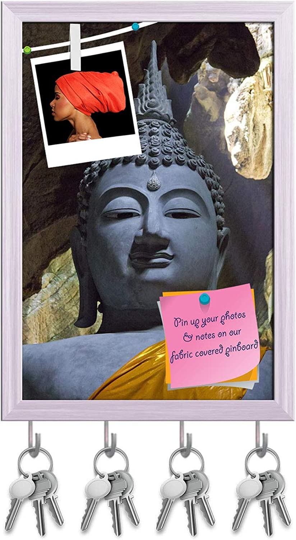 Artzfolio Buddha Thailand D3 Key Holder Hooks   Notice Pin Board   White Frame 12 X 17.5Inch