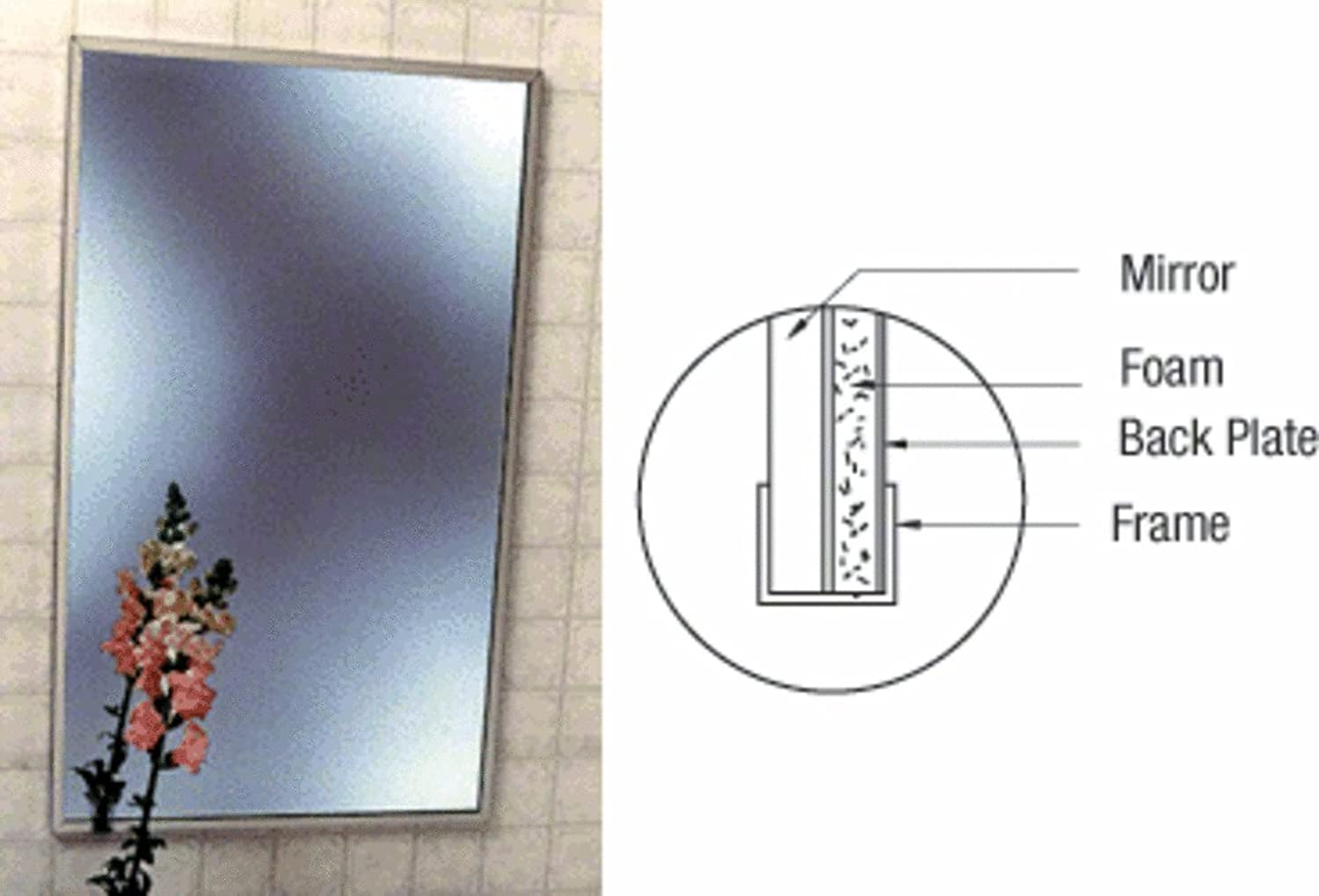 CRL Stainless Steel 16  X 24  St+ard Channel Framed Mirror