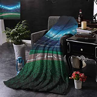 Super Soft Lightweight Blanket Baseball,Professional Baseball Field at Night Vibrant Playground Stadium League Theme Print,Green Blue,Custom Blankets for Bed Couch Chair Camping 70