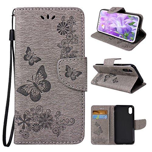 Asnlove Premium Handy Schutzhülle Tasche Leder Wallet Tasche Flip Brieftasche Etui Schale Mit Kartenfach Magnetverschluss Standfunktion für Apple iPhone X/iPhone XS Design Schmetterling