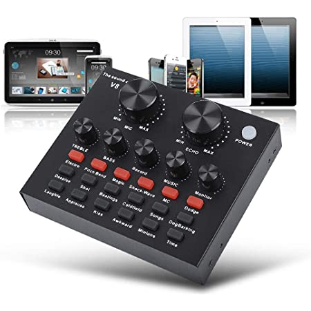 for Music Recording DJ Network Live Transmission Karaoke USB External Sound Card Portable Digital External Sound Card Mixing Console Built-in Multiple Sound Effects