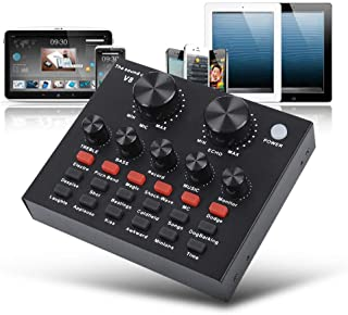 $33 » Live Sound Card, Portable USB Sound Mixer Board with 12 Sound Effects & 12 Voice Changer, External DJ Audio Mixer Machine ...