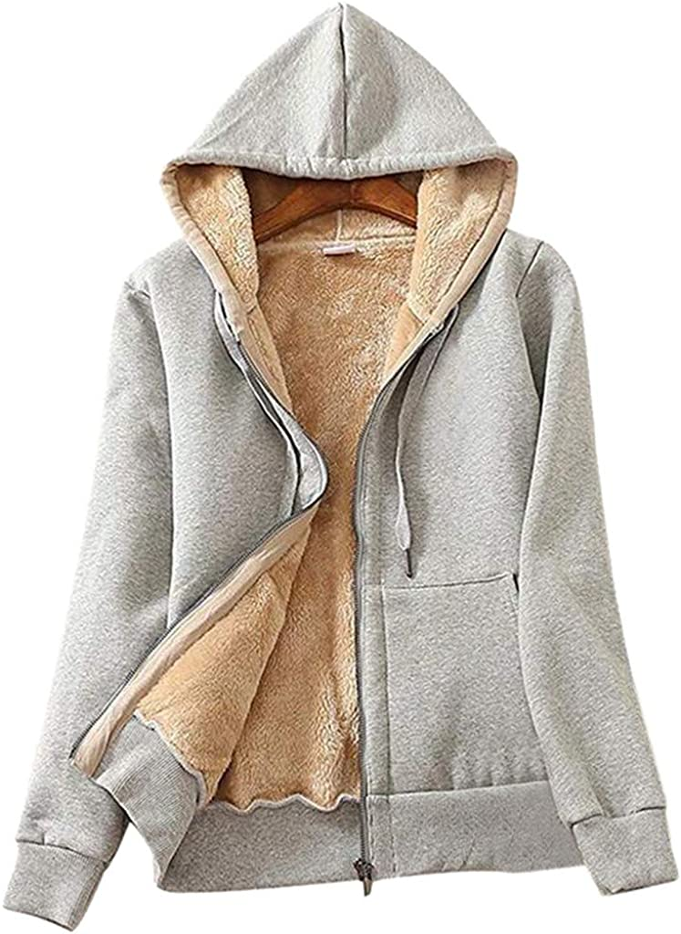 Eduavar Clothing Clearance Womens Warm Winter Coat Casual Long Sleeve Fleece Lined Hooded Coats Zip Up Jacket Outwear