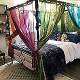 Indio viejo sari color verde cortina puerta drapeado ventana decoración seda sari hippie reciclar cortinas
